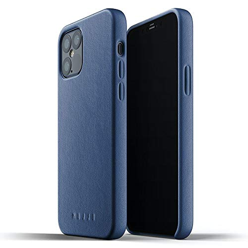 Mujjo iPhone 12 Leather Case Blue - Premium Mobile Phone Case - Compatible with iPhone 12 and 12 Pro - Extra Thin - Mobile Phone Case - Shockproof Protective Case - Wireless Charging - 6.1 Inches
