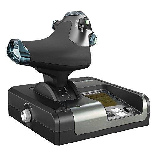 Logitech G Saitek X52 Pro Flight Palanca y Acelerador de Simulación, Pantalla LCD, Mecanismo de Centrado Mediante Resorte, Botones con Iluminación, USB - Negro