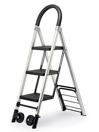 C-J-Xin Rollleiter, Familie 3 bis 4 Treppenstufen Multifunktions-Handlauf Stufenleitern Aluminium-Legierung Leicht Leiter Roller Ladder Haushaltsleiter (Size : 36 * 76 * 120cm)