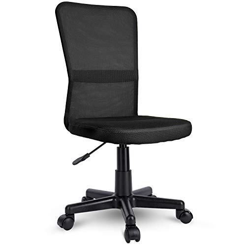 TRESKO Bürostuhl Schreibtischstuhl Drehstuhl, erhätlich in 7 Farbvarianten, mit Kunststoff-Leichtlaufrollen, stufenlos höhenverstellbar, gepolsterte Sitzfläche, Lift SGS-geprüft (Schwarz)
