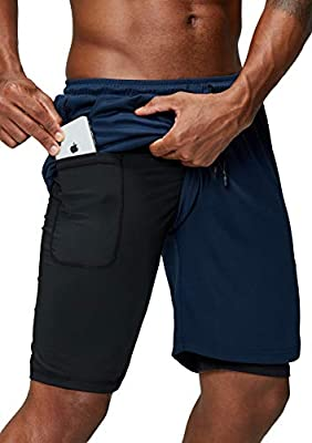 Pinkbomb Men's 2 in 1 Running Shorts Gym Workout Quick Dry Mens Shorts with Phone Pocket (Navy Blue, Medium)
