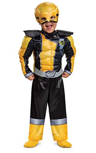 Gold Ranger Outfit for Toddlers, Beast Morphers Power Ranger Costume, Muscle Padded Character Jumpsuit, Toddler Size Medium (3T-4T)