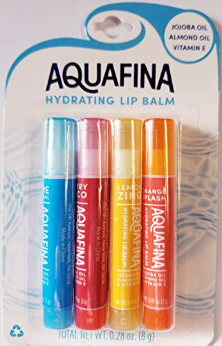 Aquafina Hydrating Lip Balm, Jojoba & Almond Oils, VIT. E, New Flavors- 4 Pack (Lemon Zing, Orange Splash, Berry Loco, Pure Original)
