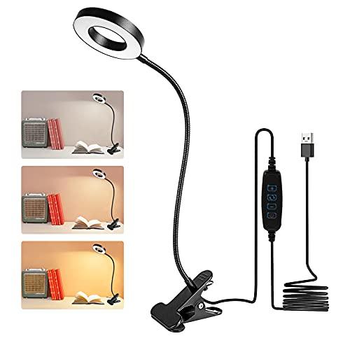 Swonuk Lámparas de Escritorio Led, 7W Lampara Escritorio Pinza, Recargable USB Luz Flexo de Escritorio, 3 Modos,10 Niveles de Brillo Lampara de Lectura Adecuado para Oficina, Lectura, Estudios, Dormir