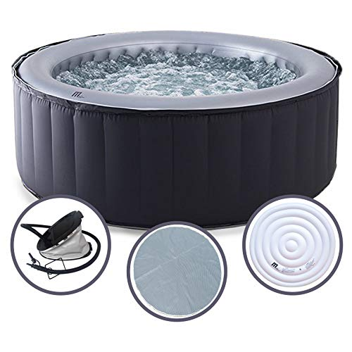 MSpa Silver Cloud 2021 Edition Luxury Portable Inflatable Quick Heating Round Hot Tub Spa Indoor/Outdoor Bubble Jacuzzi plus Heat Insulation Mat and Inflatable Bladder Heat Lid, Up to 4 Persons