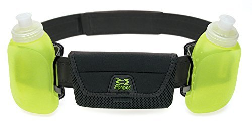 """Amphipod iPod, iPhone RunLite 2+ Hydration Waist Belt/Pack with Bottles for Water and Fuel Black Adjustable 26"""" 48"""" Waist"""
