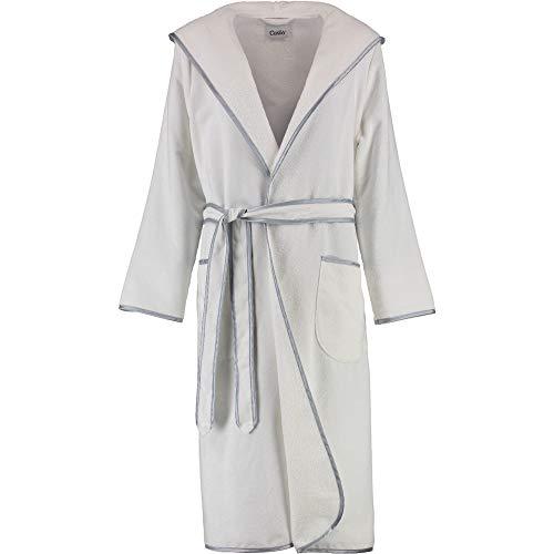 Michaelax-Fashion-Trade Cawö - Damen Velours Bademantel mit Kapuze in versch. Farben (4319), Größe:38, Farbe:Weiß (600)