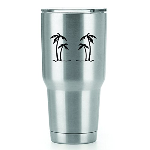 Palm Trees Vinyl Decals Stickers (2 Pack!!!) | Yeti Tumbler Cup Ozark Trail RTIC Orca | Decals Only! Cup not Included! | 2-4 X 2.5 inch Black Decals | KCD1554