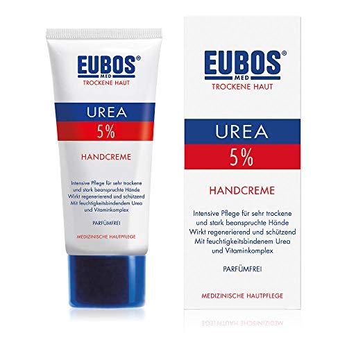 Eubos | 5% UREA Handcreme | 75ml | für trockene Haut | Hautvertäglichkeit dermatologisch bestätigt | Verbesserung Hydratationsfähigkeit der Haut | Spezial-Pflegecreme