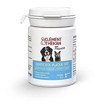 Clément Thékan - Denticroc Plaque Off - Hygiène bucco-dentaire du chien et du chat - Aide à lutter contre le tartre et la mauvaise haleine - Poudre 40 g