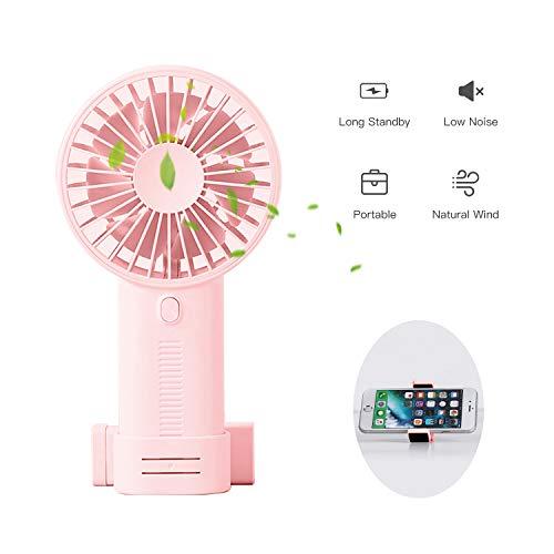 AlfaView Mini persoonlijke ventilator 3 snelheden draagbare USB opladen luchtkoeling Desktop mobiele telefoon houder Mini ventilator voor buitenshuis Home Office reizen (Roze)