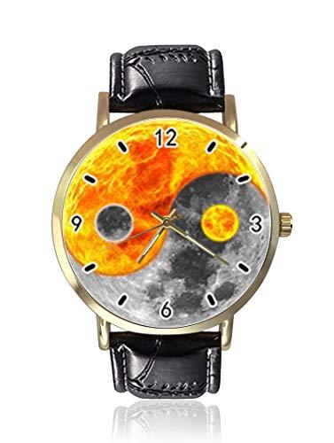 Yin Yang Moon Sun Damenuhr, modisch, Unisex, Leder, Casual Quarz-Armbanduhr