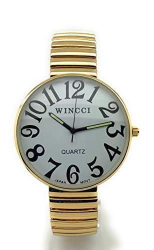 Mens Ladies Jumbo Big Numbers Stretch Elastic Band Fashion Watch Wincci (Gold)