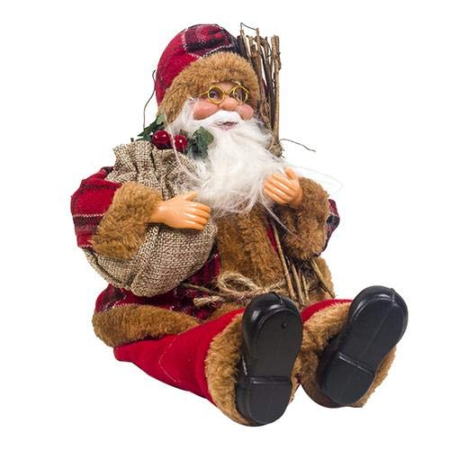Easy-topbuy Weihnachtsmann Sitzende Puppe, Stoff Weihnachtspuppe Puppe des Alten Mannes Zwergpuppe Weihnachtsdekoration Kinderspielzeug, 15 X 34 cm (Gitter Kappe)