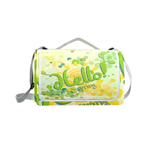 jeansame Picknick-Matte Hello Spring Polka Dots Picknick-Decke Camping Matte für Outdoor Reisen Wandern Yoga Wasserdicht Tragbar 150 x 145 cm