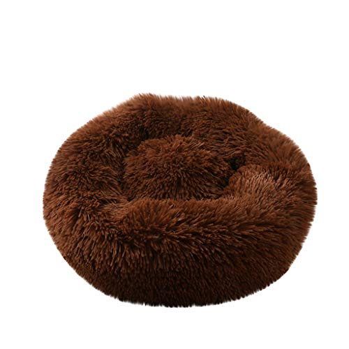 JQjian Dog and Cat Cushion Bed Orthopedic Dog Bed Round Deluxe Pet Beds Super Plush Dog & Cat Beds Ultra Soft Homes for Pets (M, Coffee)