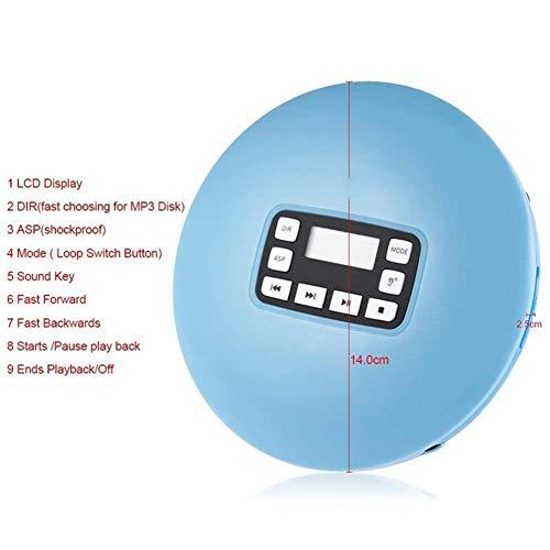 Kleine muziek CD Walkman met skip-functie, persoonlijke cd-speler met een koptelefoon, 3,5 mm koptelefoonaansluiting, cd-speler