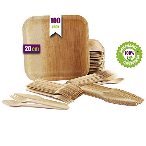 Wegwerpservies 100 delen, 25 borden van palmblad, vierkant, 20 cm, bestekset van berkenhout, 25 lepels, 25 vorken en 25 messen, rustiek, elegant en biologisch afbreekbaar.