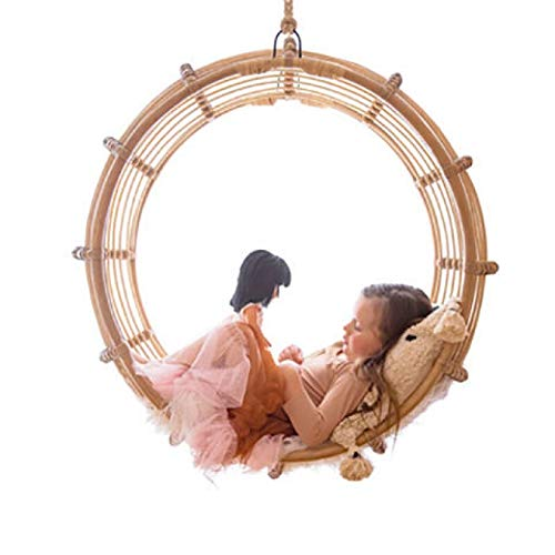HGFDSA Ring Swing Chair, Original Design Hanging Chairs Daybed Rattan Single Cradle Sofa - Best Gift for Family Festival Furniture Cushions in Patio, Lawn & Garden