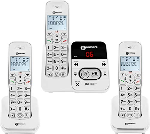 Geemarc Amplidect 295-3 Amplified (30dB) Cordless Triple Pack Telephones - Answering Machine &...