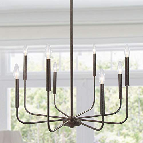 LALUZ Chandeliers for Dining Room Kitchen Island Lighting Hanging Fixture 8 Arms, 26 inches Diameter, Rust Bronze