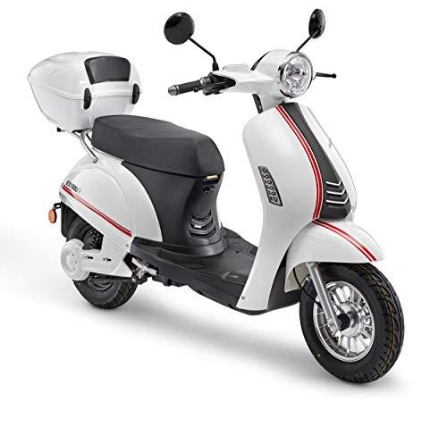 Elektroroller LuXXon E3100LI - Elektro Scooter mit 2000 Watt Bosch Motor, max. 45 km/h, Reichweite bis zu 52 km, weiß