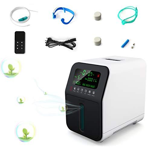 OSITO Concentratore di Ossigeno Portatile, Flusso 1-5 L / Min Regolabile 90% ± 5% Generatore di Ossigeno ad Alta Purezza, Generatore di Ossigeno Intelligente Adatto per Famiglia e Viaggi