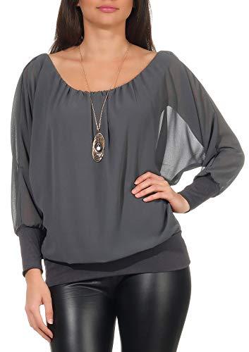 Malito Damen Bluse mit passender Kette | Tunika mit ¾ Armen | Blusenshirt mit breitem Bund | Elegant - Shirt 1133 (dunkelgrau)