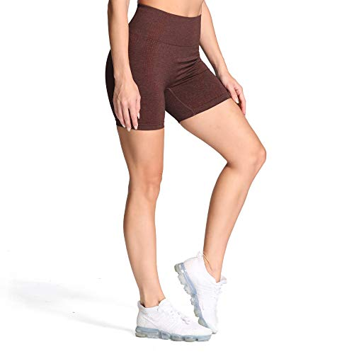 Aoxjox Women's High Waisted Vital Seamless Workout Yoga Gym Shorts (Vital Cherry Brown Marl, Medium)