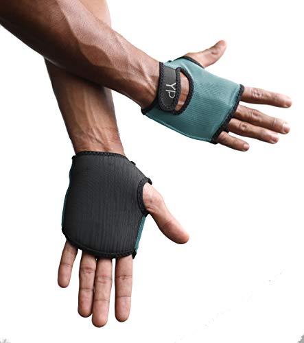 YogaPaws Elite Gepolsterte Yoga-Handschuhe für Damen und Herren, Rutschfester gepolsterter Griff, für Hot Yoga, Vinyasa, Pilates, Barre, SUP, Reisen und schweißtreibende Hände, salbeigrün, Size 3