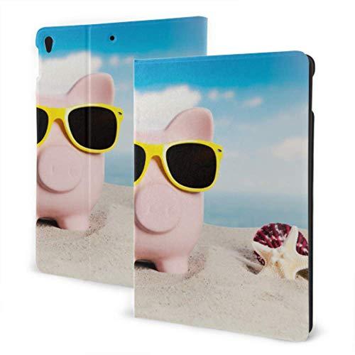 Fundas para iPad 2019 iPad Air3 / 2017 Funda para iPad Pro de 10,5 Pulgadas / 2019 Funda para iPad 7 ° de 10,2 Pulgadas Piglets con Gafas de Sol en la Playa en Verano Funda Impermeable para iPad Aut