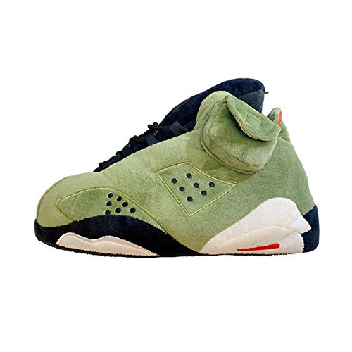 Jordan Alike Sneaker Slippers   Men and Women   Comfy and Cozy   One Size Fits All   (Green1)
