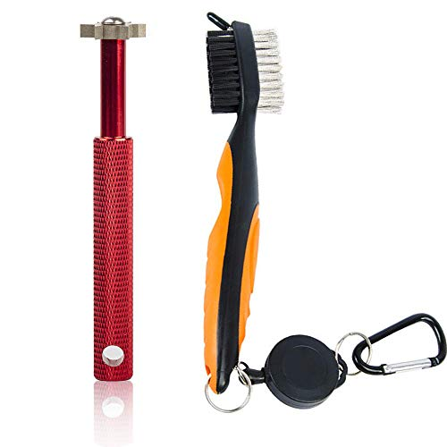 Gzingen Golf Groove Sharpener Tool, Golf Club Groove Sharpener and Retractable Golf Club Brush, for Golfers, Practical Sharp and Clean Kits for All Golf Irons-Red Sharper (red)