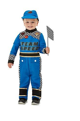 Luxuspiraten - Jungen Kinder Rennfahrer Formel 1 Fahrer Racing Car Driver Kostüm mit Jumpsuit Overall Einteiler, Kappe und Fahne, perfekt für Karneval, Fasching und Fastnacht, 80-92, Blau