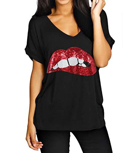 ZANZEA Camisetas Mujer Manga Corta Holgada Top Tallas Grandes Baratas Cuello V Casual Blusa Suelta T Shirt