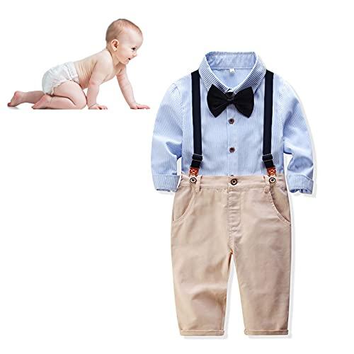 Pssopp Conjunto De Ropa para Bebés Y Niños, Trajes De Caballero para Bebés, Camisa A Rayas Exquisita, Pantalones con Tirantes, Conjunto De Traje con Pajarita(Azul Claro 80cm)