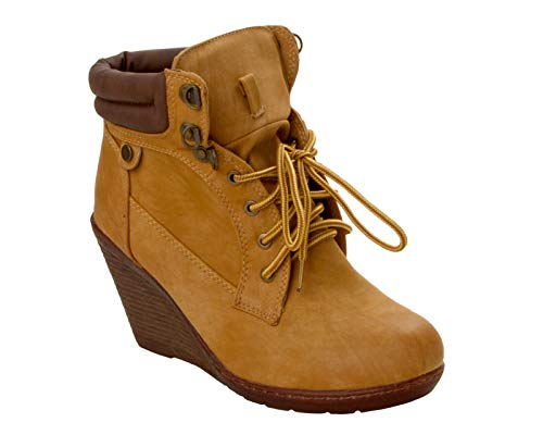 Womens TAN LACE UP HIGH Wedge Heel Padded Ankle Casual Boots Ladies UK Size...