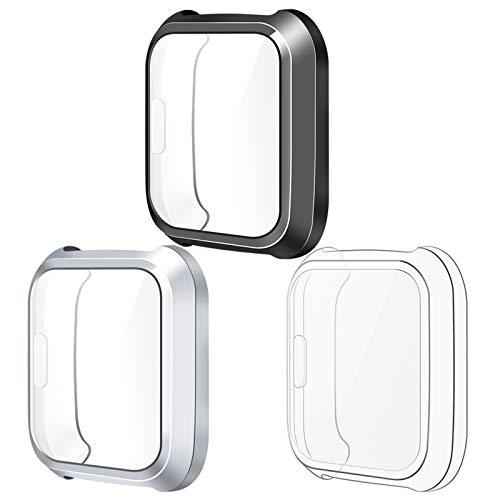 KIMILAR Funda Compatible con Fitbit Versa Lite Protector Funda (NO para Versa/Versa 2), [3 Paquete] TPU Pantalla Cubierta Protector de Pantalla, Plata/Claro/Negro