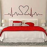 Vinilo Decorativo Cama Cabecero Corazón Electrocardiograma Cuyo Gráfico Muestra Un Corazón.Diseño Ideal Para Los Amantes Bedhead Dormitorio Etiqueta 141 * 42Cm