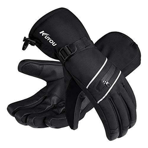 KUYOU Skihandschuhe Herren Damen Winter Ski Snowboard Handschuhe Winterhandschuhe Wasserdicht Warm Thinsulate Thermo (L, Schwarz)