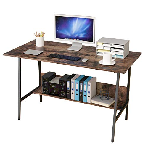 Bangoyopi Trapezoid Home Office Desk 47x24'' Vintage Sturdy Computer PC Writing Laptop Table for Study Room Bedroom Living Room Workstation with Storage Shelves (Dark Brown)