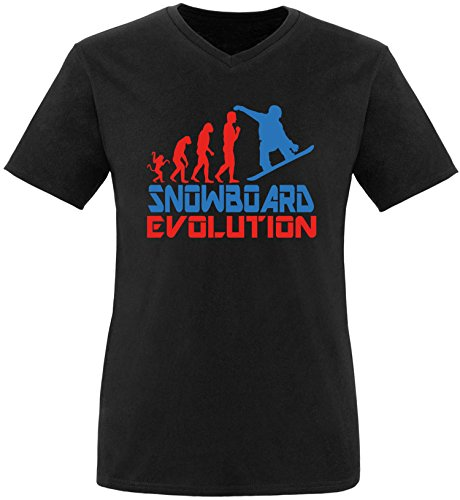 EZYshirt® Snowboard Evolution Herren V-Neck T-Shirt
