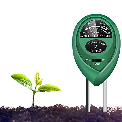Yoyomax - Kit de prueba de suelo, 3 en 1, medidor de humedad de pH para plantas de jardín