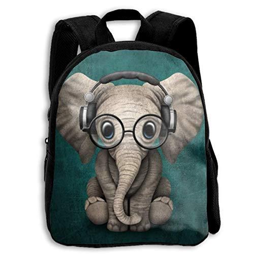 YEGFTSN Cute Elephant with Earphone School Backpack Bookbag for Kids Boys Girls