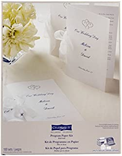 Wedding Occasions Half-Fold Program Paper Kit, White with Platinum Hearts by Celebrate It