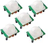 Movilideas - 5 Unidades Módulo Sensor de Movimiento PIR HC-SR501 con Salida Digital - Sensor por Infrarrojos - Detector de Movimiento