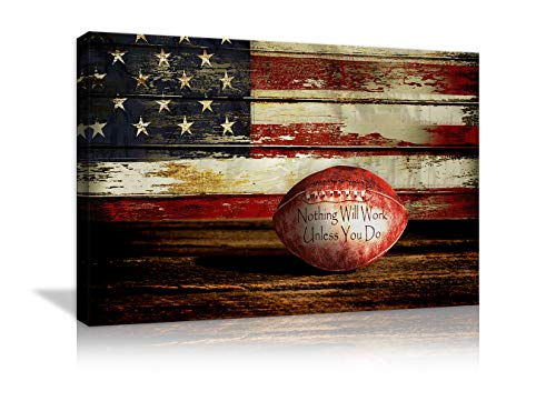Retro American Flag Football Canvas Prints Wall Art US USA American Flag on Wooden Board Rustic Sports Decor Home Picture for Bedroom Living Room Thin Red Line Paintings Posters Framed Ready to Hang
