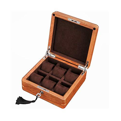 NHLBD HAILIZI Uhrensammelbox Palisander Watch Box 6 Raster mit Hardware Lock-Large-Uhr-mechanische Uhr Lagerung Sammelbox Lagerung 55mm Dial Dark Brown Futter (Color : Dark Brown Lining)