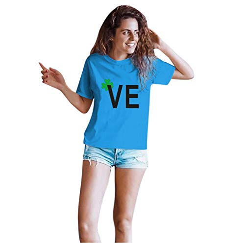 Dasongff T-shirt Klee Partner Look Paar T-shirt St. Patricks Day korte mouwen kostuum basic casual thee bovenstuk top blouses Large blauw/dames.