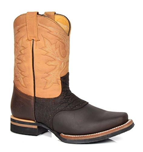 House of Luggage Herren Echtleder Cowboy Stiefel Blockabsatz überstreifen Quadrat Zehe Western Schuhe HLG08FRH Braun (EU 44)